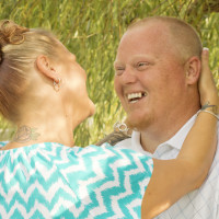 Bear Laughing Engagement Photo